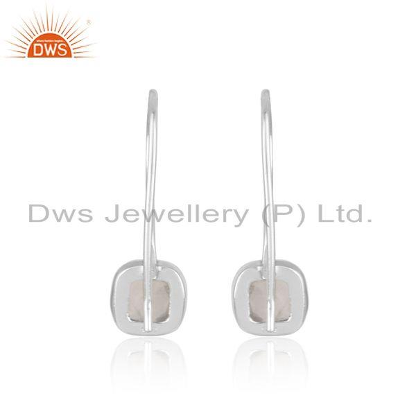 Designer of Handmade smooth earring in sterling silver 925 with rose quartz