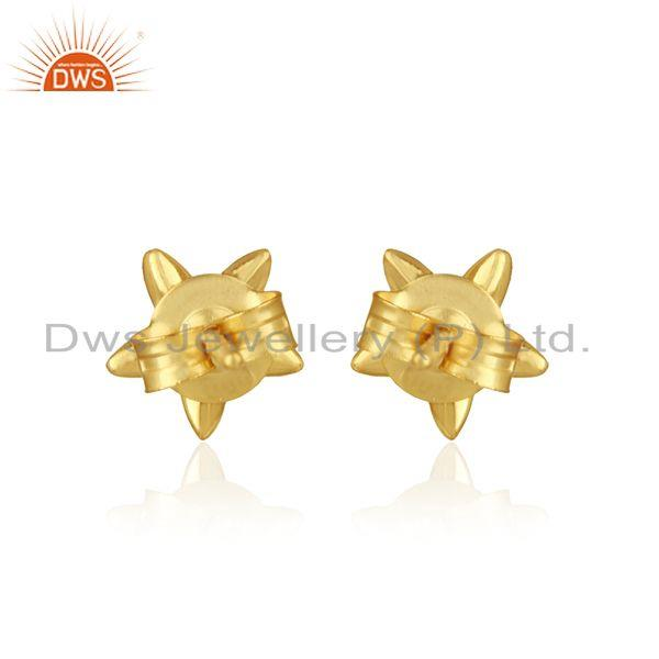 Designer of Designer leaves earring in yellow gold on silver 925 with pearl