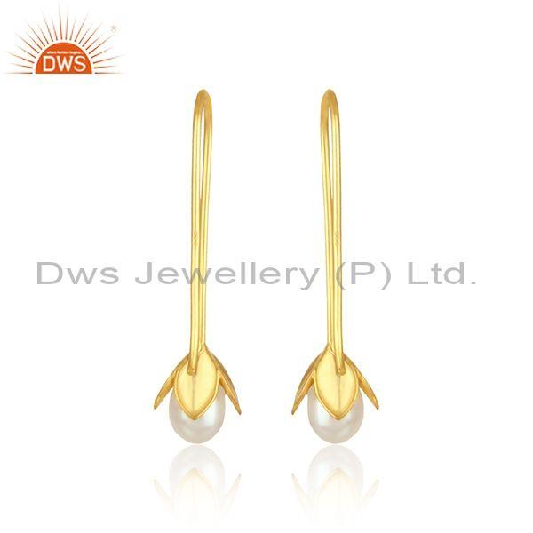 Designer of Leaf drop earring in yellow gold on silver 925 crafted with pearl