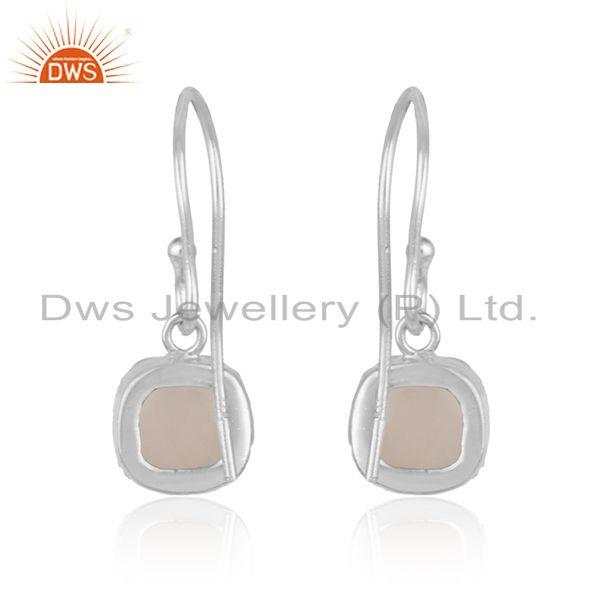 Designer of Handmade dangle earring in fine silver 925 with rose quartz