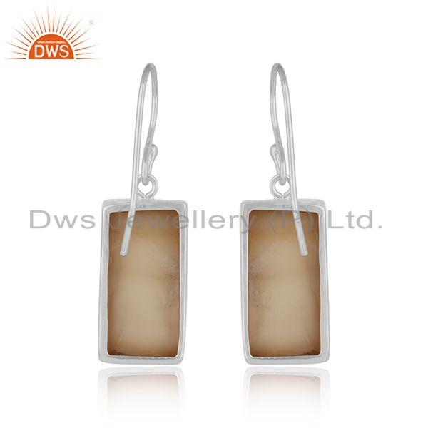 Designer of Handmade dangle mother of pearl bar earring in solid silver 925