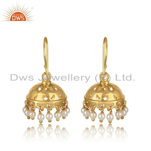 Designer of Handmade traditional design gold on silver pearl dangle jhumka