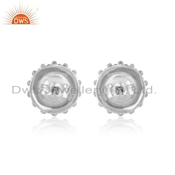 Designer of Handmade stud in rhodium plated silver 925 adorn with pearl