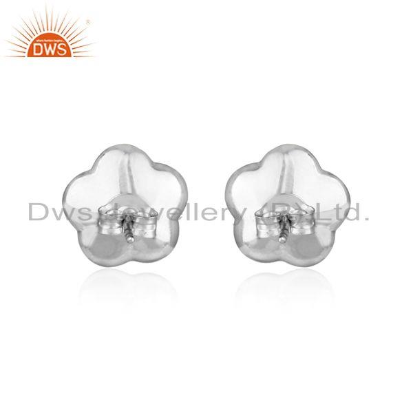 Designer of Designer dainty stud in rhodium plated silver 925 with pink pearl