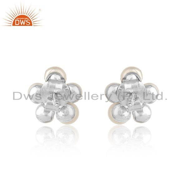 Designer of Floral designer pearl cz earring in whte rhodium on silver 925