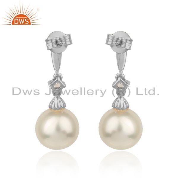 Designer of White rhodium plated silver cz natural pearl gemstone earrings