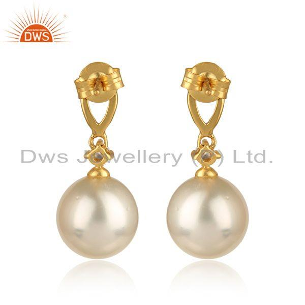 Designer of 18k gold plated 925 silver natural pearl cz gemstone earrings