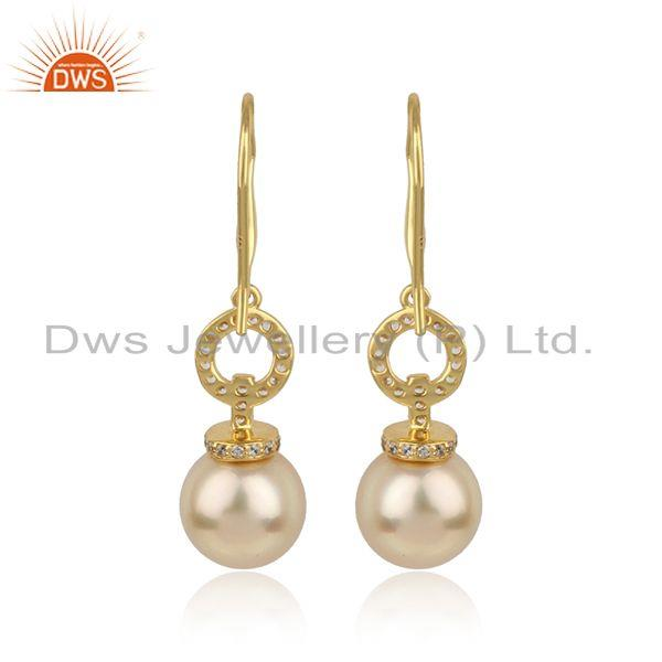Designer of Cz natural pearl gemstone 18k gold plated silver girls earrings