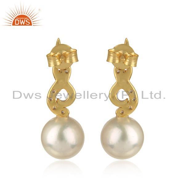 Designer of 18k gold plated designer 925 silver cz natural pearl earrings