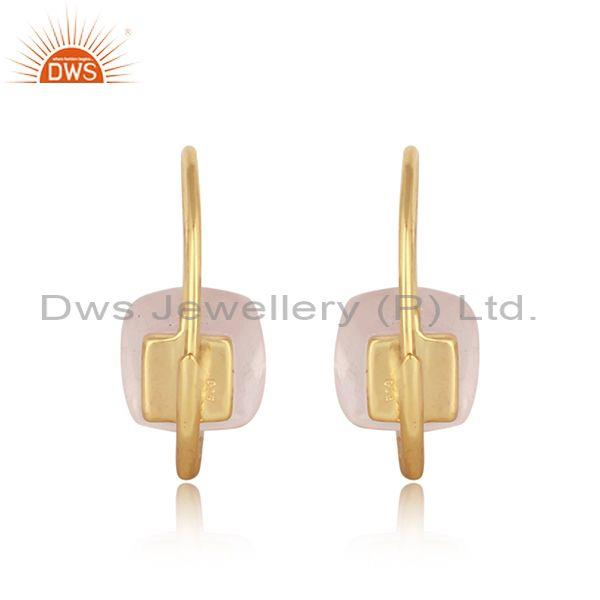 Designer of Exquisite solitaire earring in gold plated silver and rose quartz