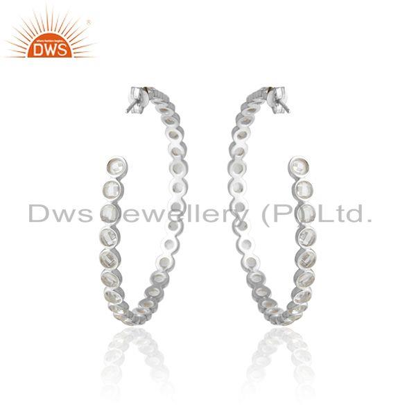 Designer of Large hoop earring crafted in solid silver with shimmering cz