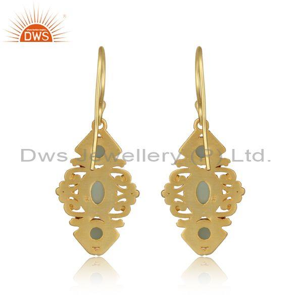 Manufacturer of Boho Earring in Yellow Gold on Silver 925 with Aqua Chalcedony