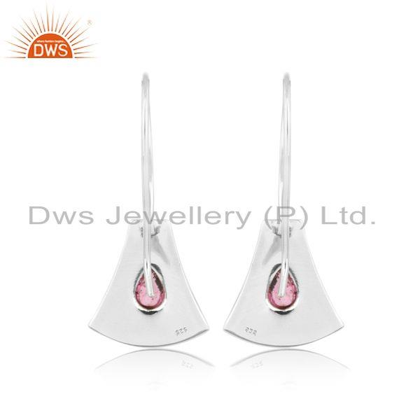 Designer of Jaguar textured earring in oxidized silver with pink tourmaline