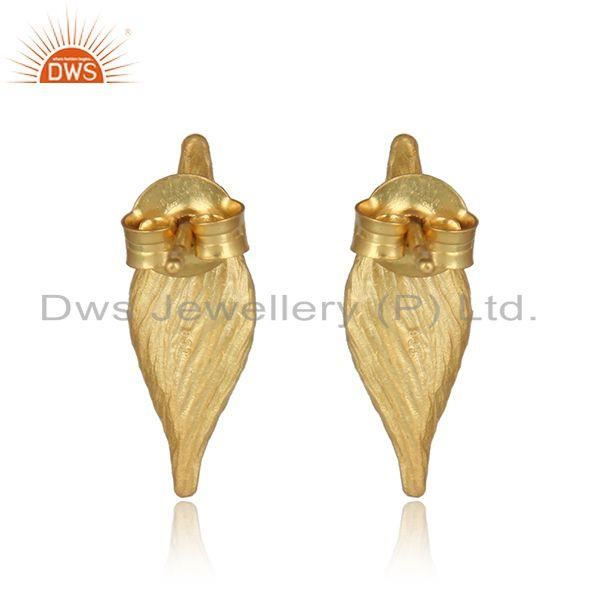 Designer of Designer seedpod natural pearl stud in yellow gold on silver 925
