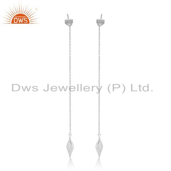 Designer of Designer long seedpod earring in solid silver with natural pearl