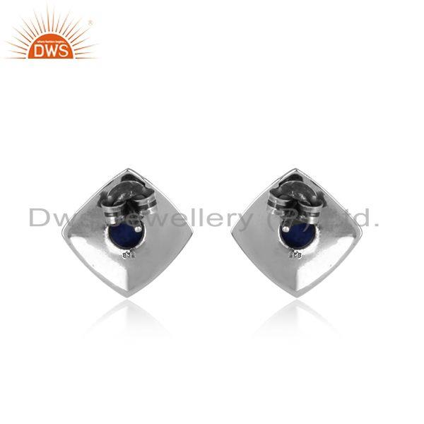 Designer of Classic elegant designer stud in oxidised silver 925 with lapis