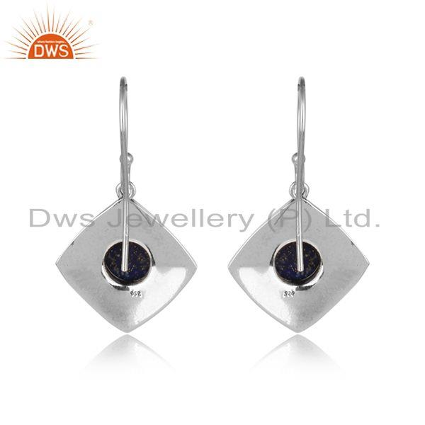 Designer of Handmade designer earring in oxidised silver 925 with lapis