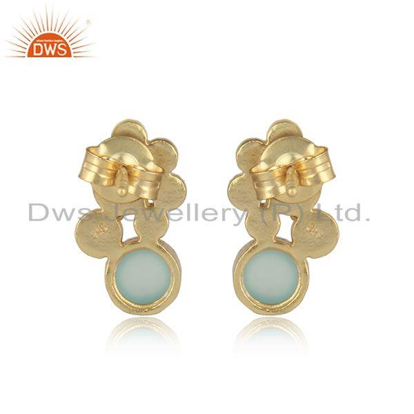 Designer of Handcrafted designer aqua chalcedony studs in gold on silver 925