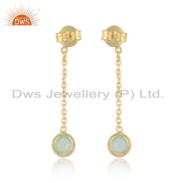 Designer of Designer chain dangle aqua chalcedony earring in gold on silver 925