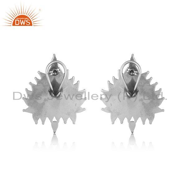 Designer of Handcrafted artistic tribal textured stud in oxidized silver 925