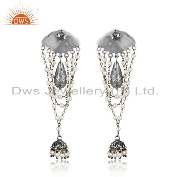 Designer of Designer tribe oxidized silver jhumka with hand wrapped pearls