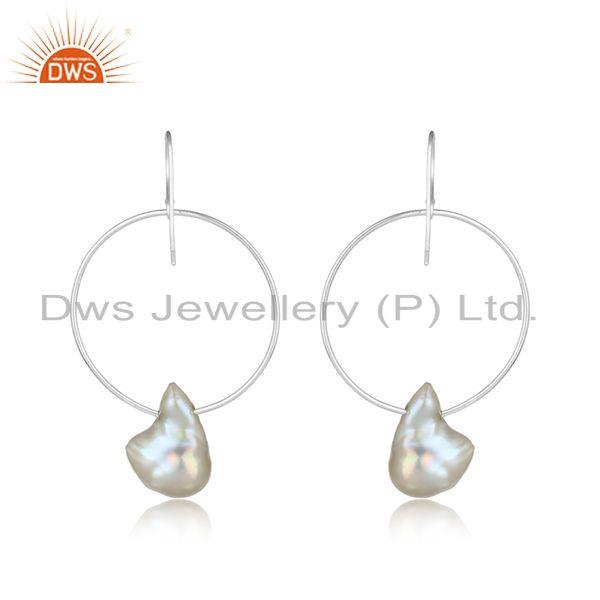 Designer of Handcrafted bold hoop sterling silver 925 dangle with pearl