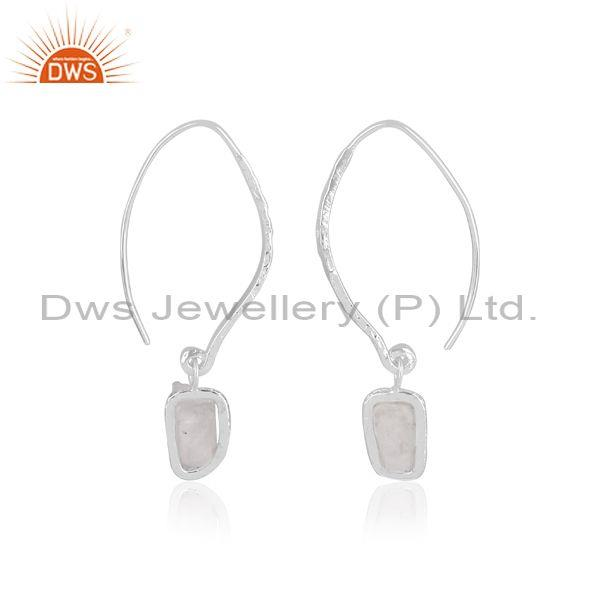 White topaz and rainbow moon stone fine 925 silver earrings