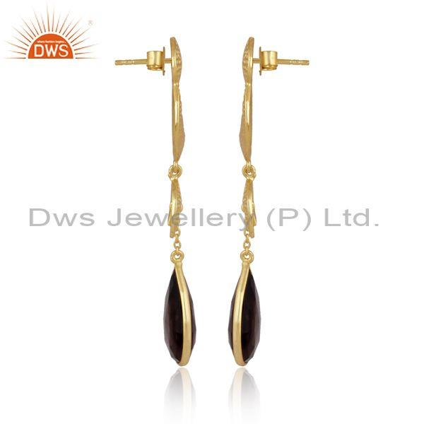 Pear cut smoky textured gold on silver long drop earrings