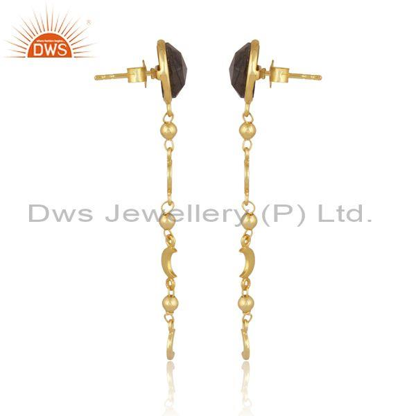Round labradorite gold on 925 sterling silver long earrings