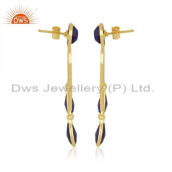 Gold on sterling silver lapis set long drop classic earrings
