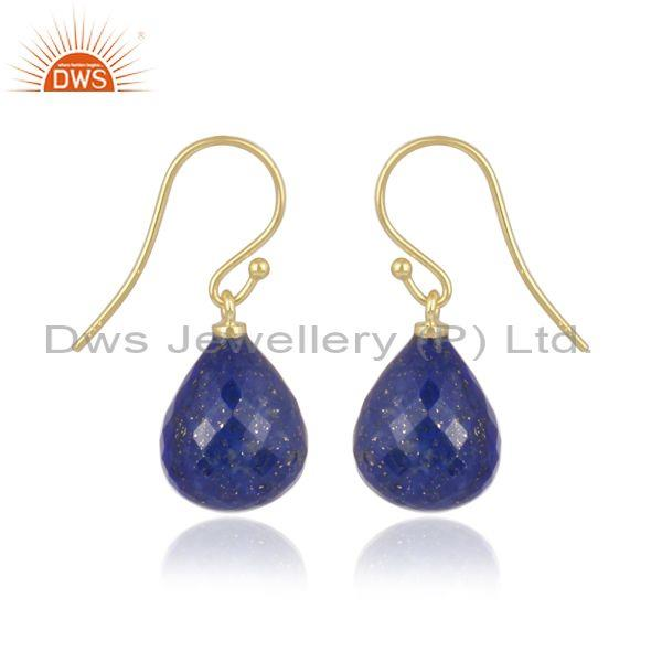 Lapis set gold on sterling silver classic statement earrings