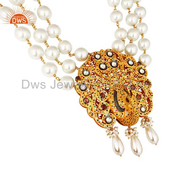 Suppliers South Indian Traditional Pearl 22K Gold Plated Silver Peacock Design Necklace