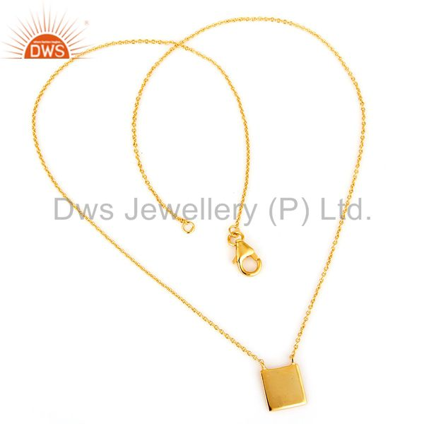 Suppliers 18K Gold PLated Sterling Silver Square Flate Pendant Necklace Simple Sobber