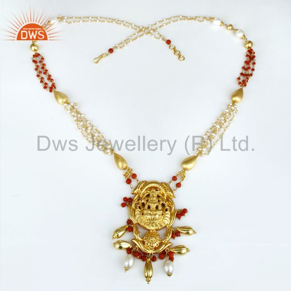 Suppliers 14K Gold Plated 925 Sterling Silver Handmade 28 Inch Temple Jewelry Necklace