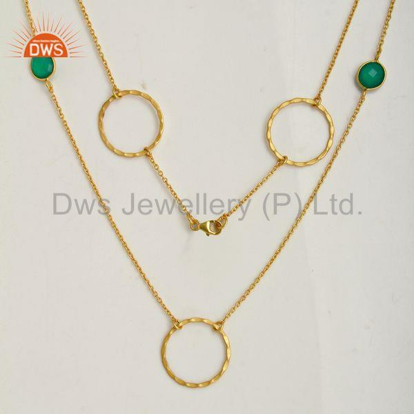 Suppliers Green Onyx Gemstone Silver Gold Plated Chain Neckalce Manufacturer