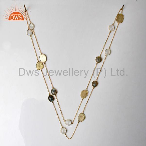 Suppliers Labradorite Gemstone Gold Plated 925 Silver Fashion Necklace Jewelry