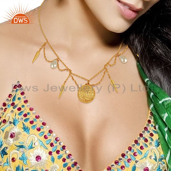 Suppliers Handmade Pearl Gemstone Gold Plated Silver Womens Necklace Jewelry
