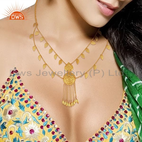 Suppliers 925 Sterling Silver Gold Plated Traditional Necklace Jewelry Supplier