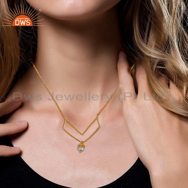 Suppliers Gold Plated Sterling 92.5 Silver Fresh Watar Pearl Pendant Wholesale
