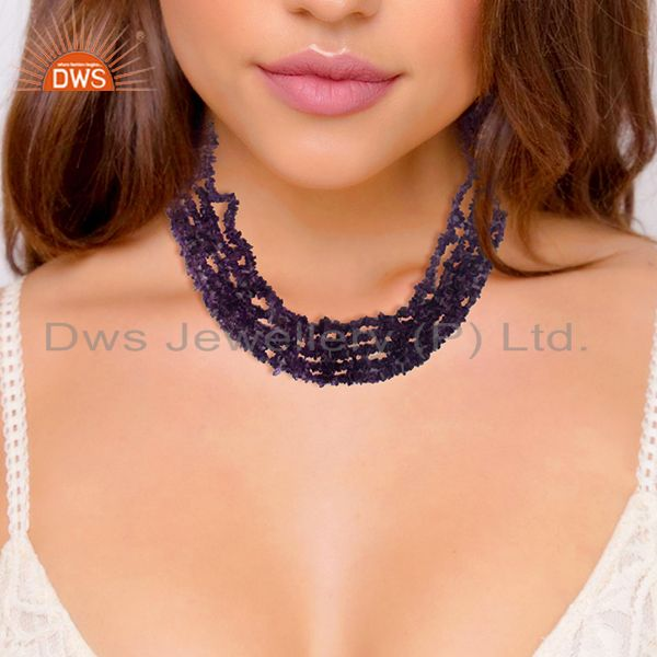 Suppliers Natural Amethyst Beaded Gemstone 925 Silver Necklace Wholesale