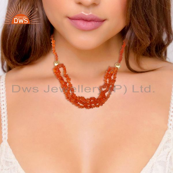 Suppliers Carnelian Beaded Gemstone 925 Silver Gold Plated Necklace Suppliers