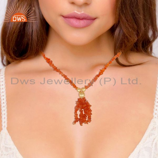 Suppliers Natural Carnelian Beaded Gemstone 925 Silver Gold Plated Necklace
