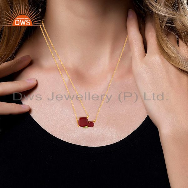 Wholesale Supplier of 92.5 Sterling Silver Gold Plated Multi Gemstone Pendant Necklace