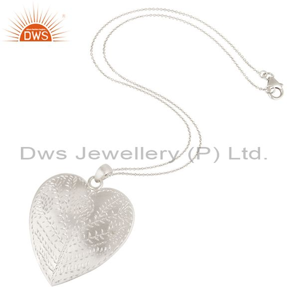 Suppliers Solid Textured 925 Sterling Silver Brushed Finish Heart Shaped Pendant Jewelry