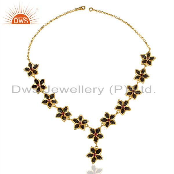 Suppliers Oxidized And 22K Gold Plated Sterling Silver Pink Tourmaline Flower Necklace