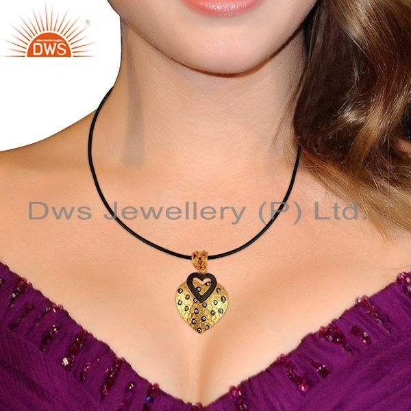 Suppliers 14K Yellow Gold Plated Brass Cubic Zirconia Heart Pendant With Cord Necklace