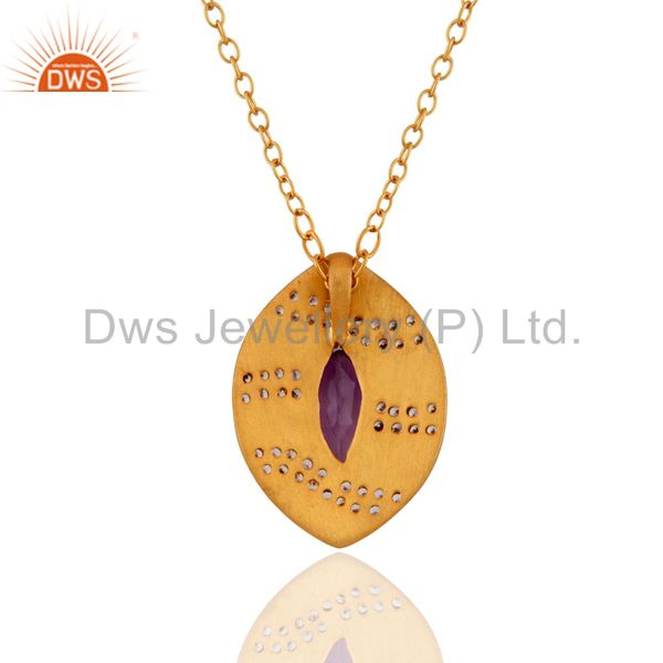 Suppliers 18k Yellow Gold Plated Amethyst & Cubic Zirconia Designer Pendant With 16