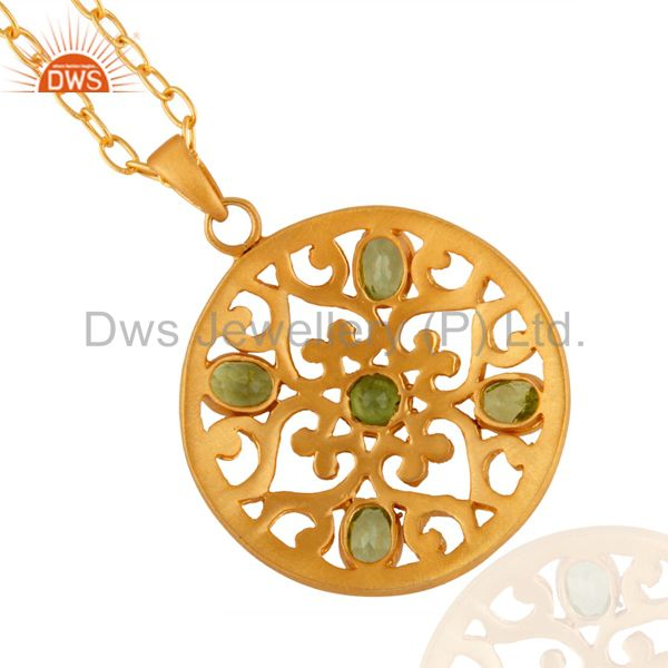 Suppliers Genuine Natural Oval Shape Peridot 18k Gold Plated Filigree Design Pendant With