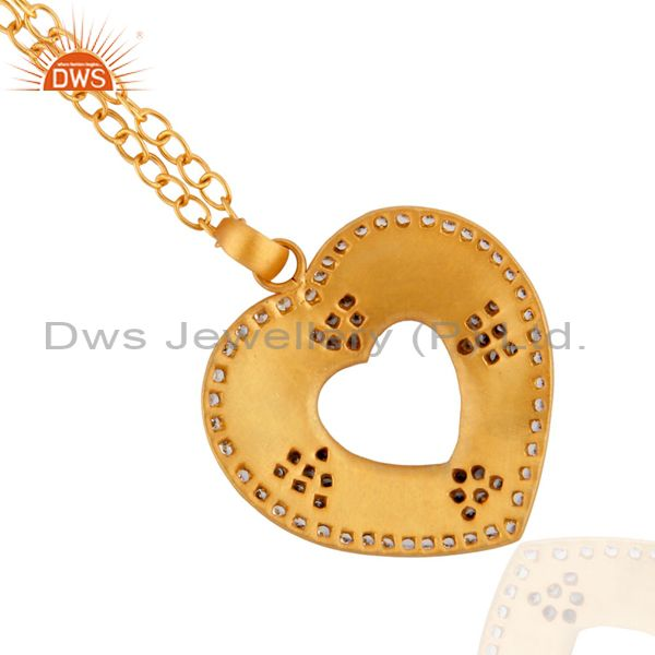 Suppliers Indian Handcrafted Heart Shape 24k Gold Plated White Zircon Pendant Chain Neckla