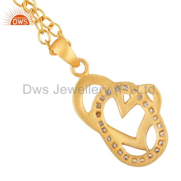 Suppliers 18K Yellow Gold Plated White Cubic Zirconia Heart Design Pendant With 16